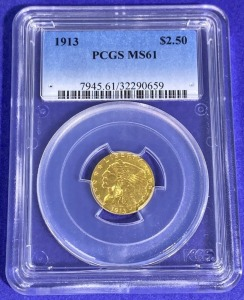 1913 $2.50 Indian Head Gold MS-61 PCGS