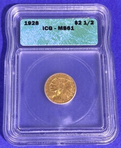1928 $2.50 Indian Head Gold MS-61 ICG