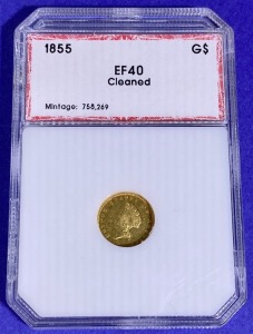 1855 $1 Indian Head Gold EF-40 PCI