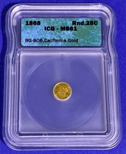 1868 25-Cent California Pioneer Gold MS-61 ICG