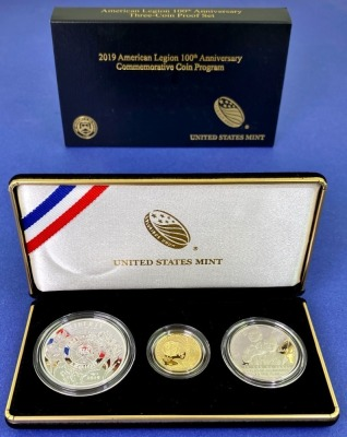 2019 US Mint American Legion 100th Anniversary Gold & Silver Coin Set