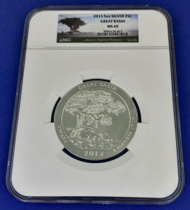 2013 5 oz Silver Great Basin MS-69 NGC