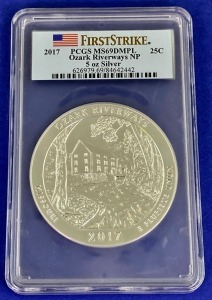 2017 5 oz Silver Ozark Riverways MS-69DMPL PCGS