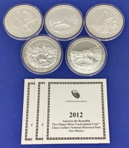 "2012 US Mint ""America The Beautiful"" Silver Coins"