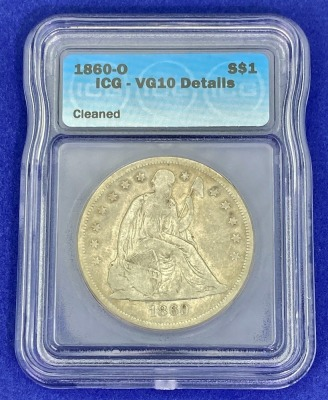 1860-O Seated Liberty Silver Dollar VG-10 ICG