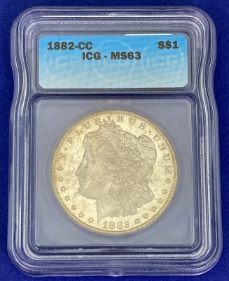1882-CC Morgan Silver Dollar MS-63 ICG