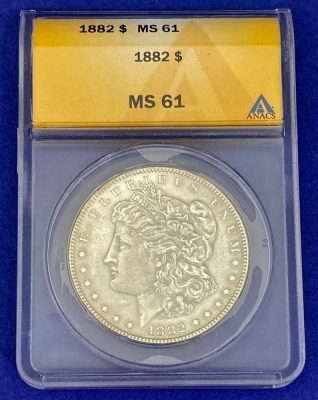 1882 Morgan Silver Dollar MS-61 ANACS