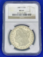 1887-O Morgan Silver Dollar MS-61 NGC