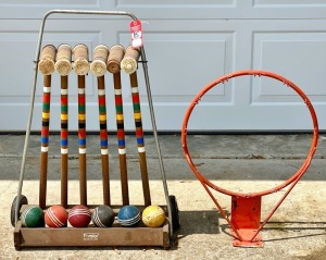 Vintage Croquet Set & Basketball Rim