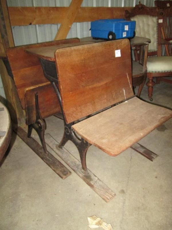 (2) Antique Minneapolis O. and S.F. Co. wood and cast iron school desks,  21