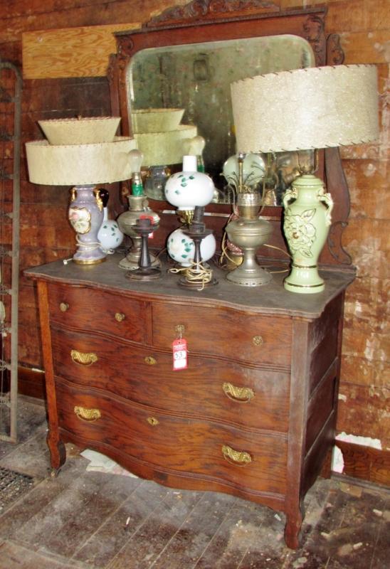 Antique Oak Dresser With Wishbone Mirror Current Price 475