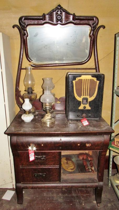 Antique Oak Wash Stand With Mirror Towel Rack Current Price 95