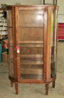 Antique Oak Bowfront China Cabinet